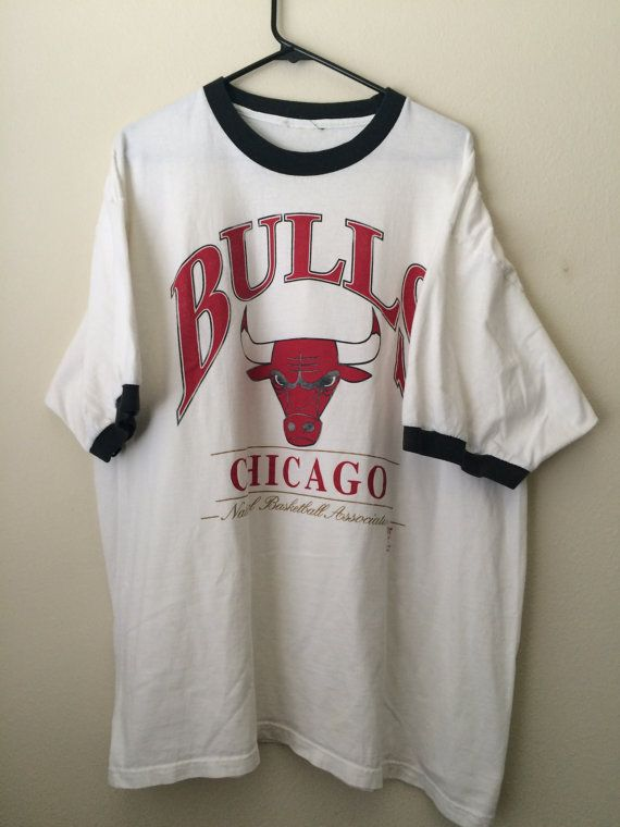 SOLD XXL 1990s ringer T shirt Chicago Bulls Basketball by MY2NDJOB