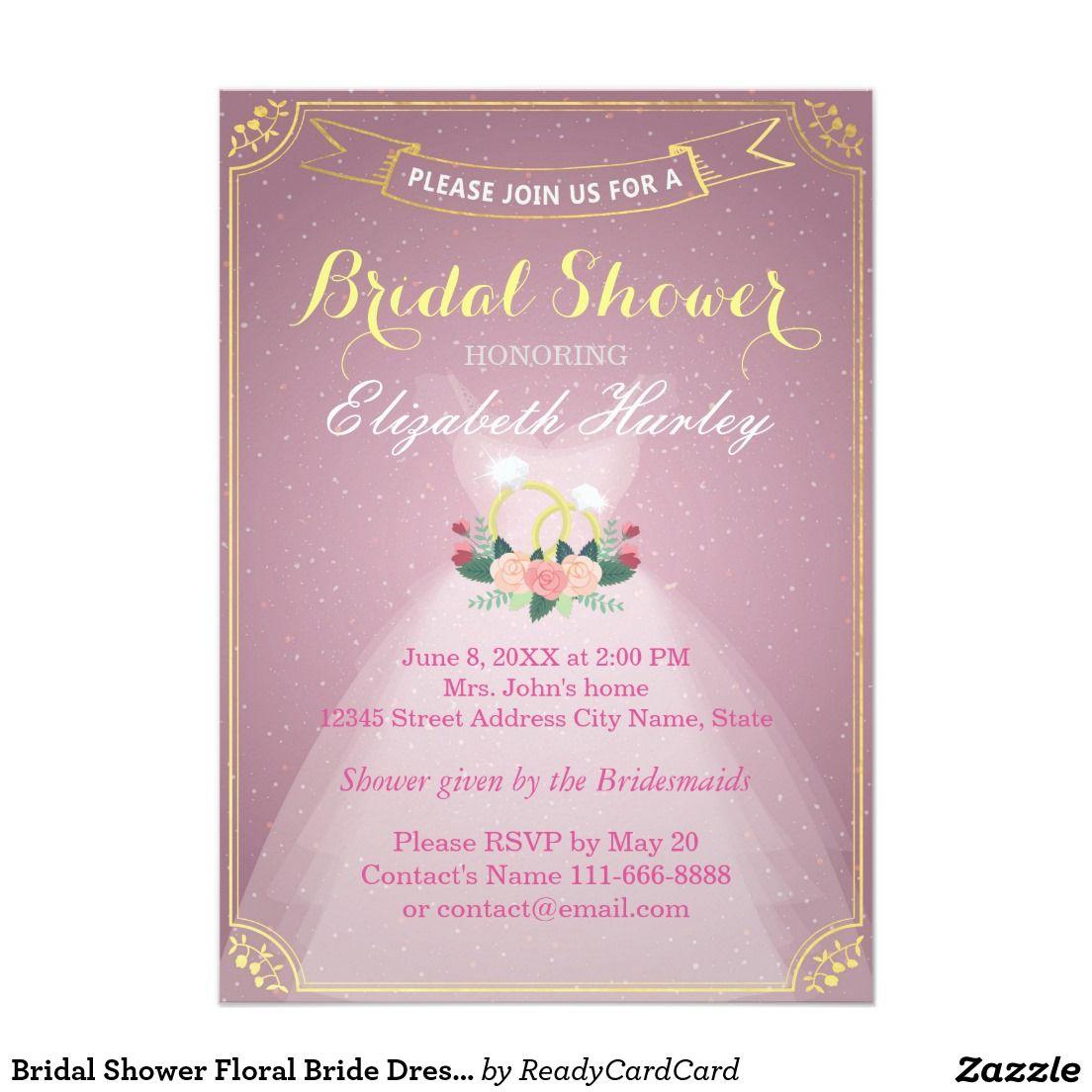 Bridal Shower Floral Bride Dress Diamond Ring Pink Card