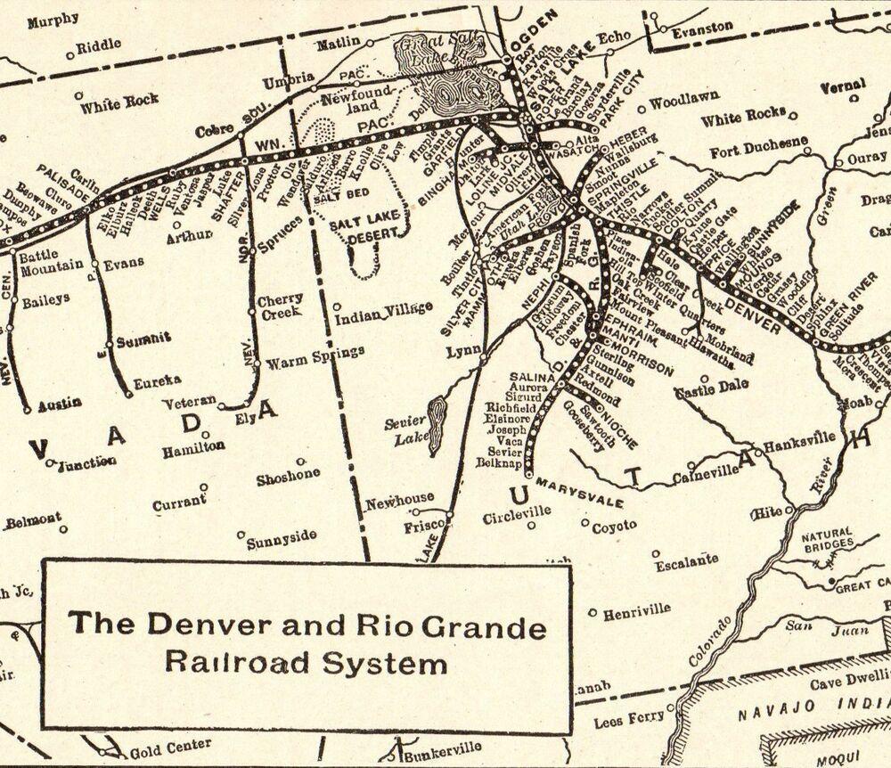 1914 Antique Denver Rio Grande Railroad Map Vintage Collectible - Rio-grande-on-us-map