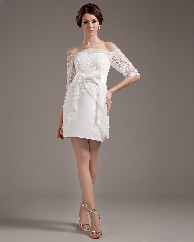 Mini wedding dresses  Satin Lace Sweetheart Short Mini Wedding Dress  Maguire Wedding
