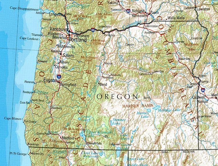 Oregon Map   USA   USA Maps in 2019   Postkarten on orgon map, omdurman map, yukon map,