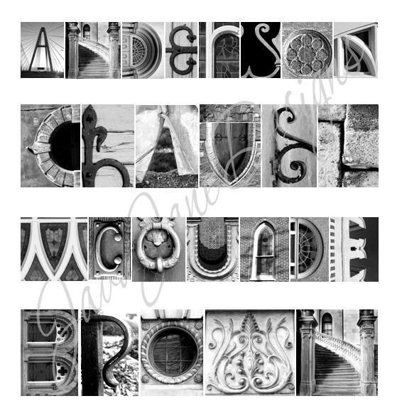 Your Name in Architecture Alphabet Letters (Framed/Matted 10x22 ...