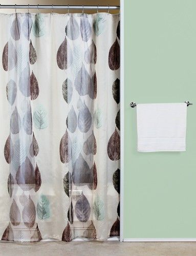 Curtain Bath Outlet Gossamer Leaf Fabric Shower Curtain With