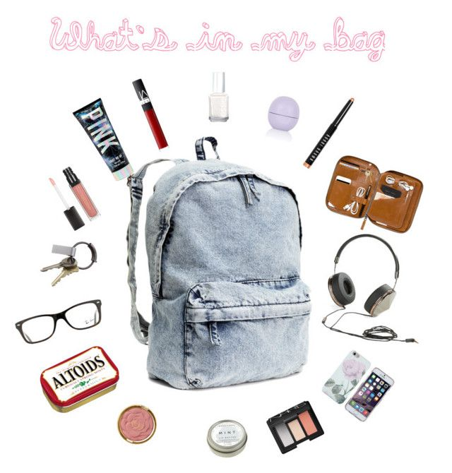 """What's in my bag"" by katrinaharding ❤ liked on Polyvore featuring beauty, H&M, Ray-Ban, Frends, CB2, Bobbi Brown Cosmetics, Topshop, NARS Cosmetics, Essie and Milani"