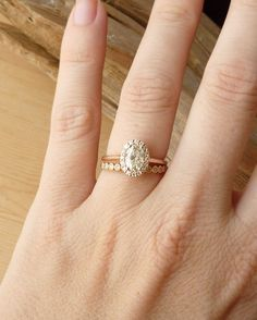 Oval Moissanite And Diamond Halo By Kateszabone On Etsy My Perfect Engagement Wedding Ring
