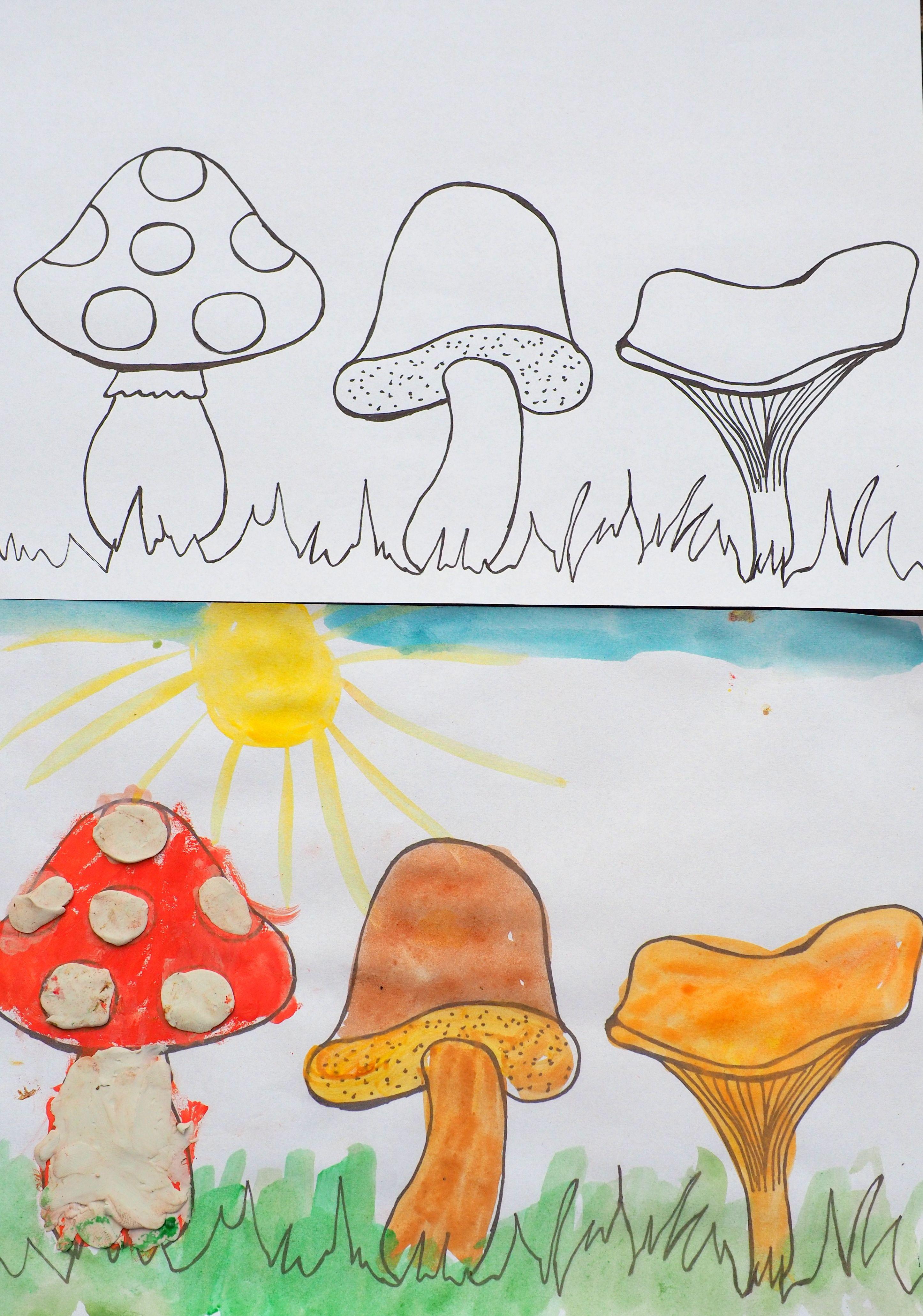 Grzyby Do Kolorowania I Wyklejania Moje Dzieci Kreatywnie Diy And Crafts Crafts Diy