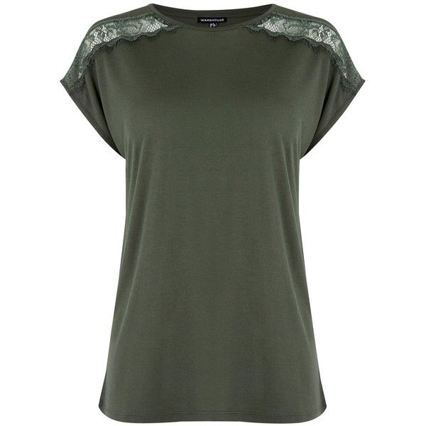 Warehouse Lace Mix T-Shirt , Khaki (€14) ❤ liked on Polyvore featuring tops, t-shirts, khaki, lace top, cap sleeve t shirt, jersey tee, lace tee and short sleeve t shirts