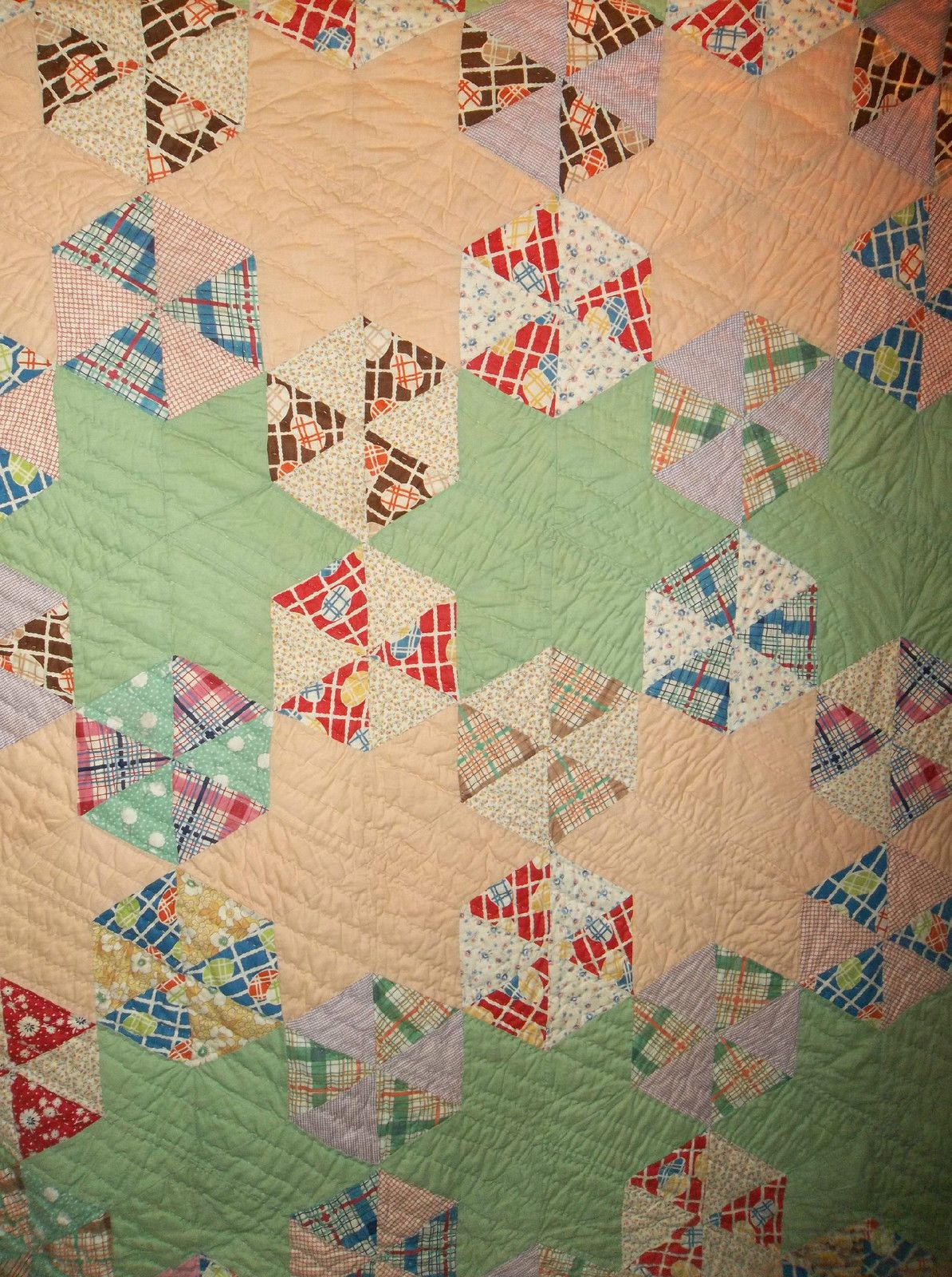 Estate Find Homemade Hand Quilted Piece Quilt | eBay | 1930\'s quilts ...