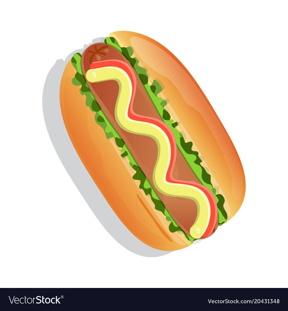 Traditional Hot Dog Icon Vector Illustration Isolated On White Background Cafe Or Restaurant Fast Food Snack Top View Eating Menu Pict Hot Dogs Icon Dog Icon
