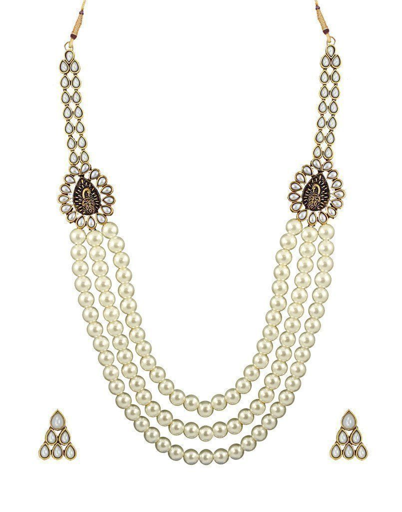 Royal look multi strand motti mala necklace set zpfk zaveri