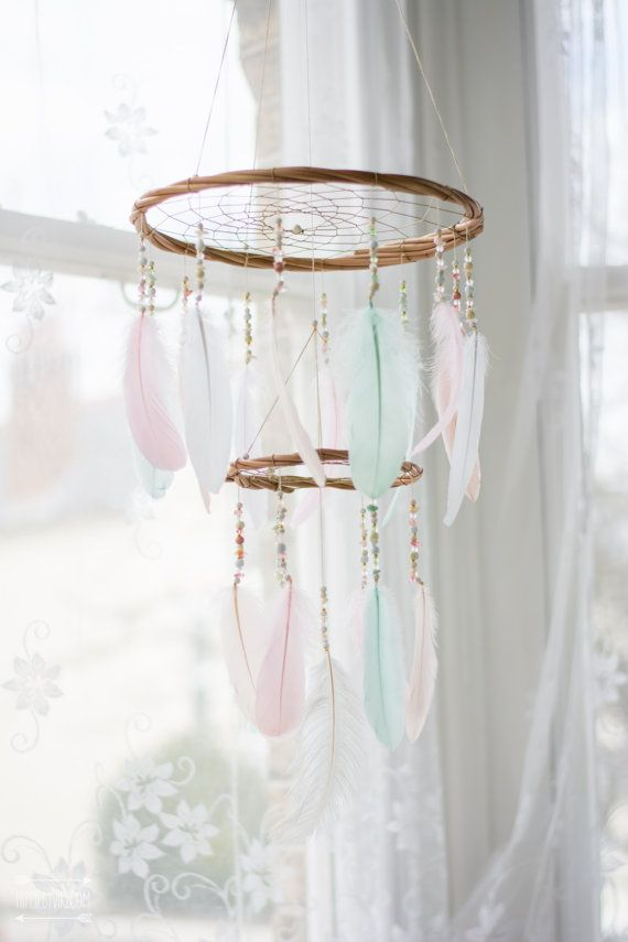 Dream catcher nursery mobile chandelier nursery dream catcher dream catcher chandelier mobile nursery mobile by hippiebyviki aloadofball