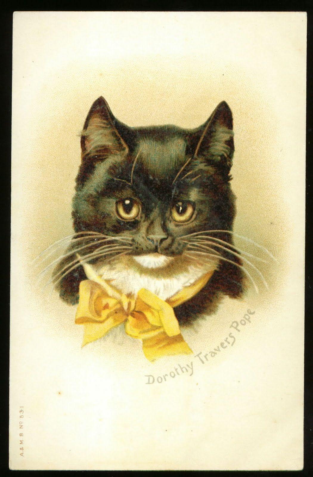 Винтажные открытки кошки