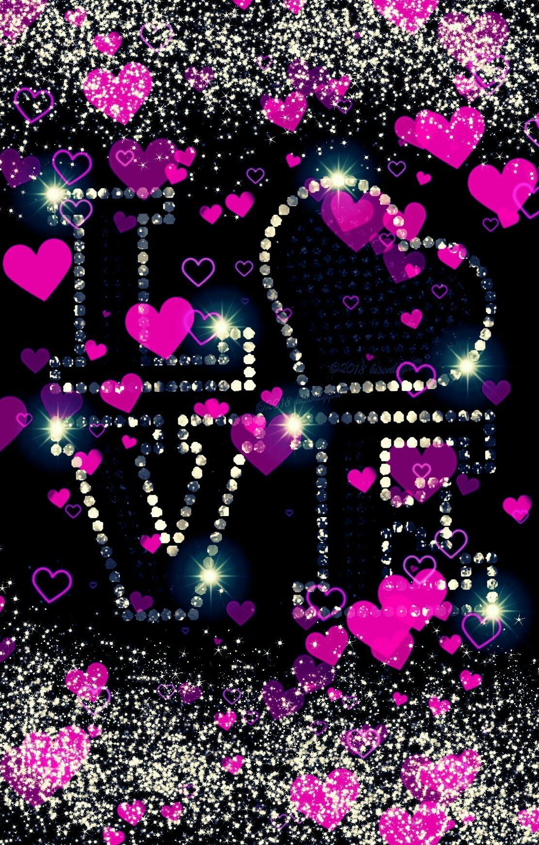 Pink hearts love glitter wallpaper I created for CocoPPa