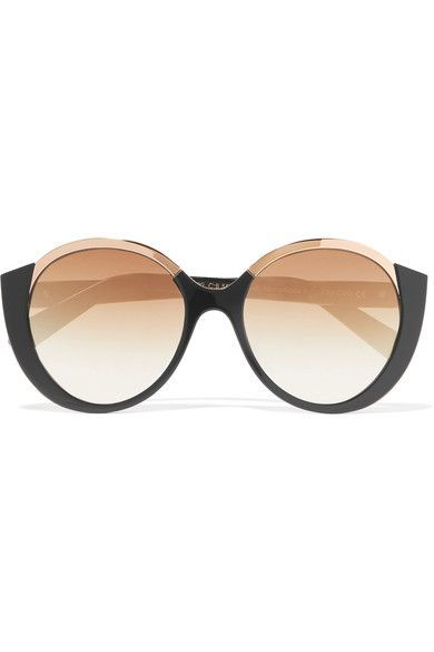 2f362b0b809 Cutler and Gross - Round-frame Acetate And Gold-tone Sunglasses - Black