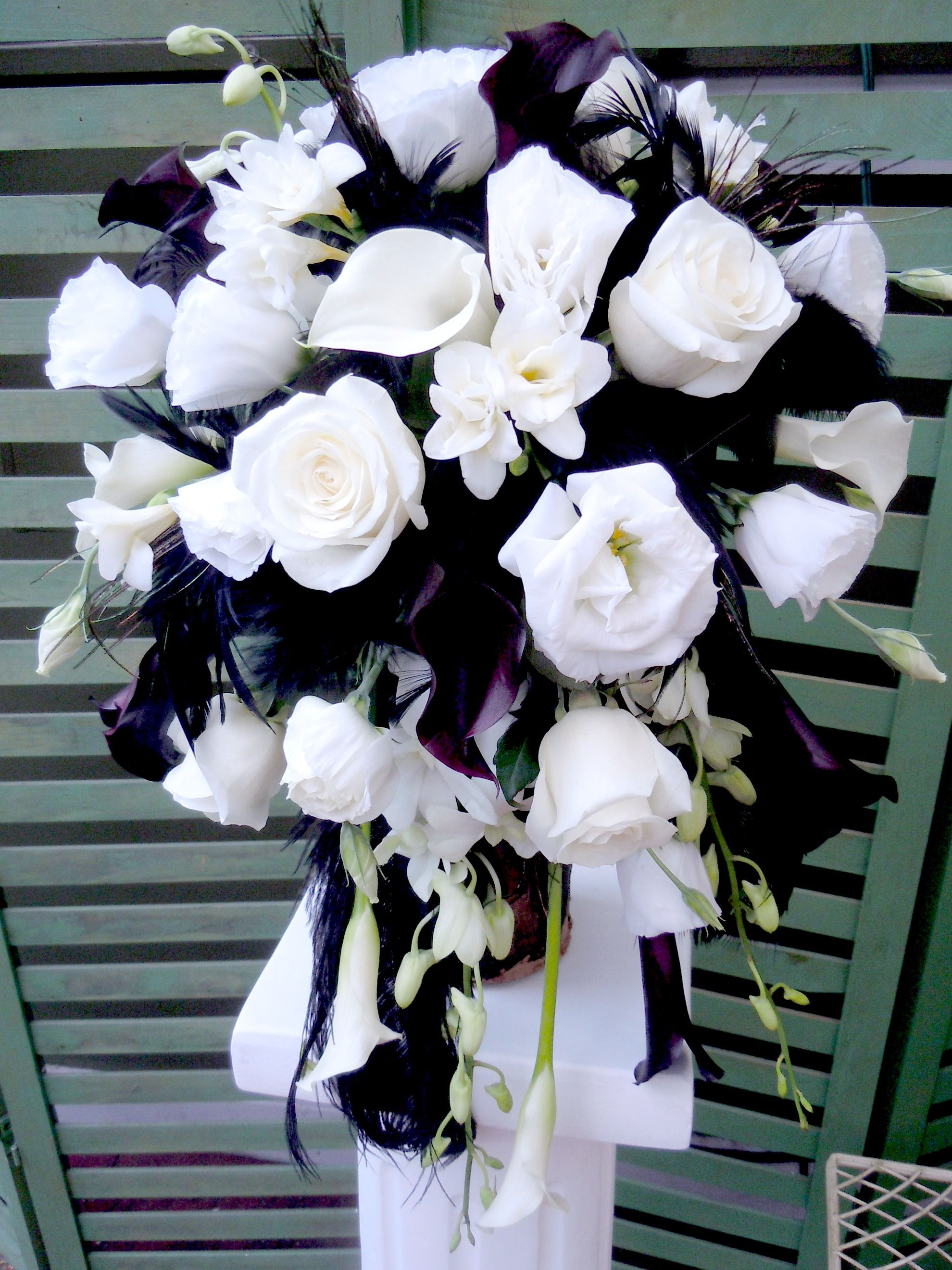 Flower Bouquet Black And White Wedding Flowers