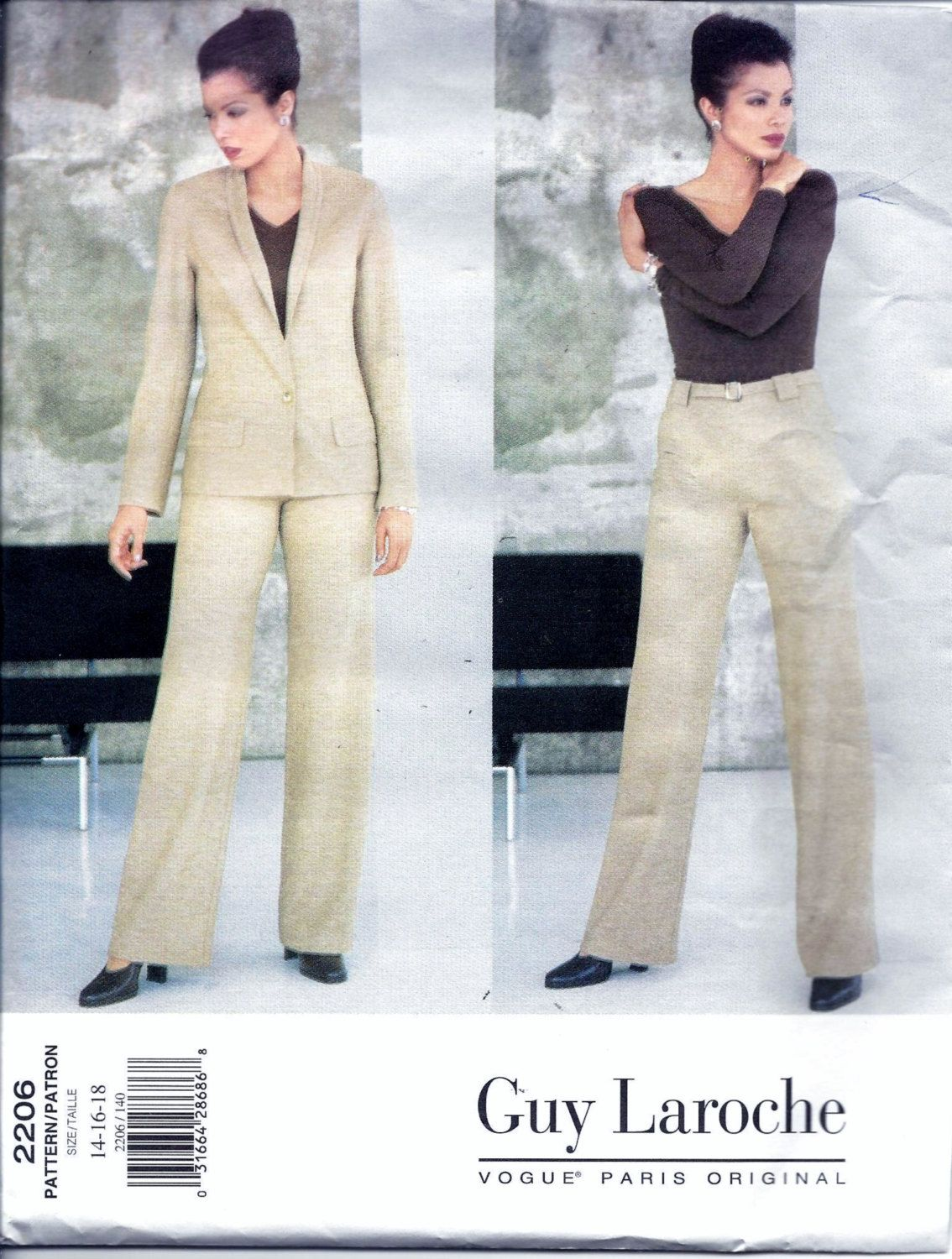Vogue 2206 GUY LAROCHE Suit Jacket Pants And Belt Sewing Pattern Size 14, 16 And 18 UNCUT Paris Original by vintagepatternstore on Etsy