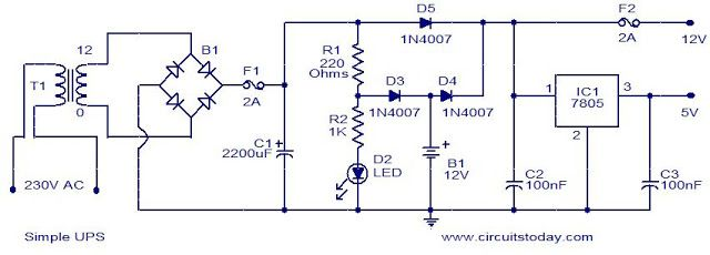 simple 12v ups circuit naza layout pinterest circuits, circuit router circuits this the circuit diagram of a simple ups that can deliver 12v unregulated and 5v regulated dc the transformer t1 steps down the mains voltage to 12v ac and