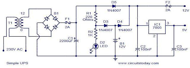simple 12v ups circuit  circuit diagram uninterruptible