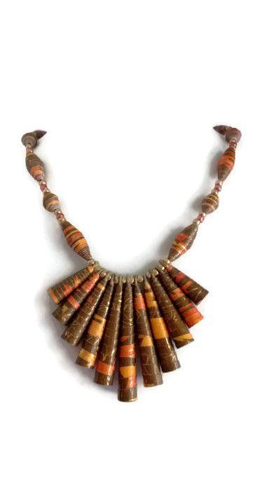 *Autumn Harvest* Paper Bead Necklace
