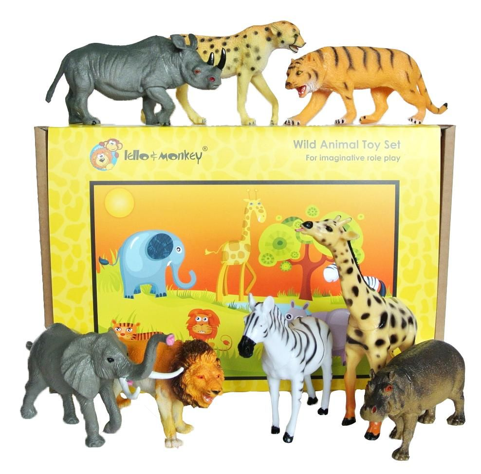 Safari Animals Toys Set Of 8 Pet Toys Plastic Safari Animals