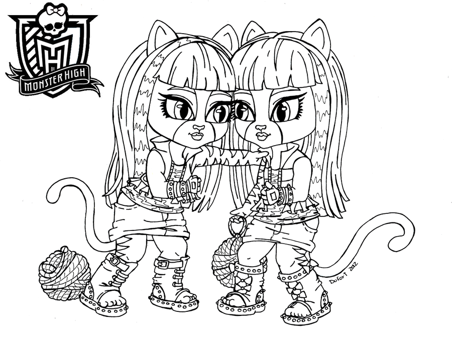 baby monster high coloring pages | baby purrsephone et meowlody by ... - Monster High Dolls Coloring Pages