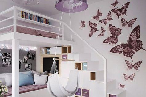 Hochbett im Kinderzimmer - Schmetterlinge Aufkleber