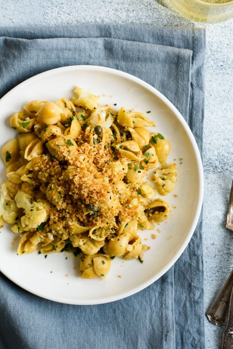 Lemony Vegan Cauliflower Pasta With Capers And Fried Breadcrumbs