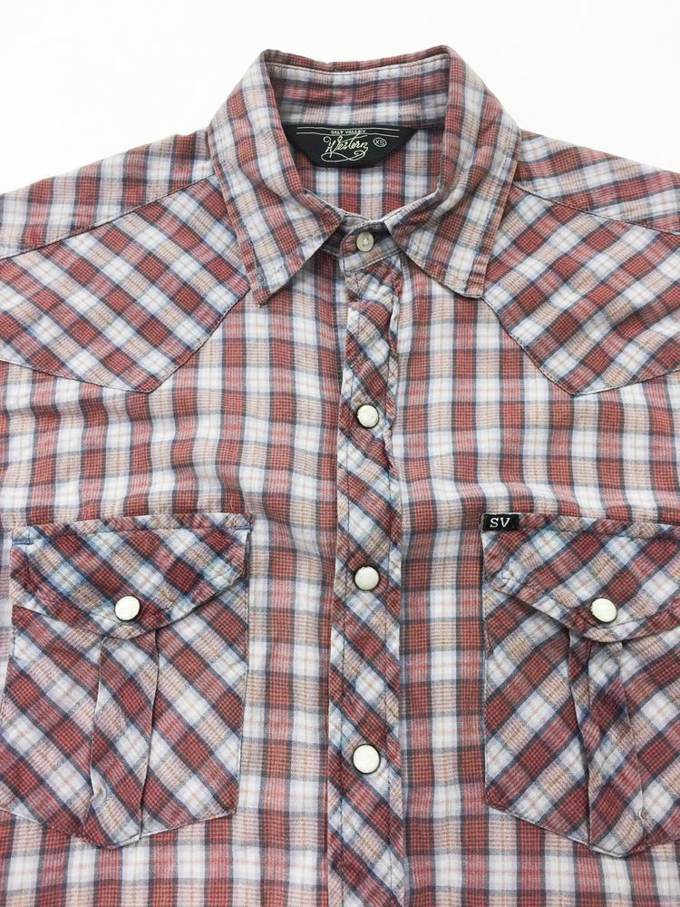 4e3f93cf SALT VALLEY WESTERN Pearl Snap Shirt Red Gray Plaid Men's XS Cotton Cowboy  in Clothing, Shoes & Accessories | eBay