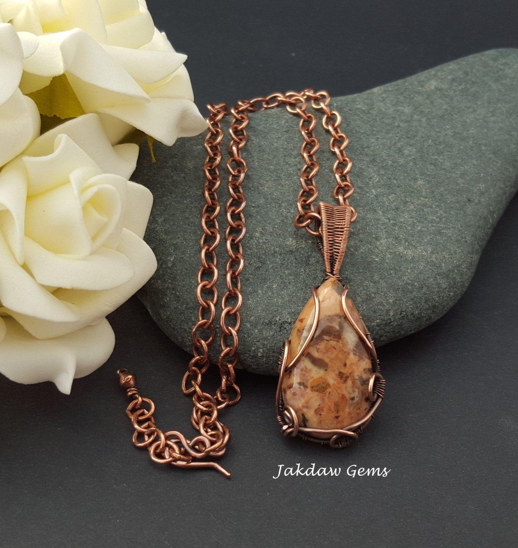 Dolomite Jasper Handmade Pendant on a Copper Chain by JakdawGems on Etsy