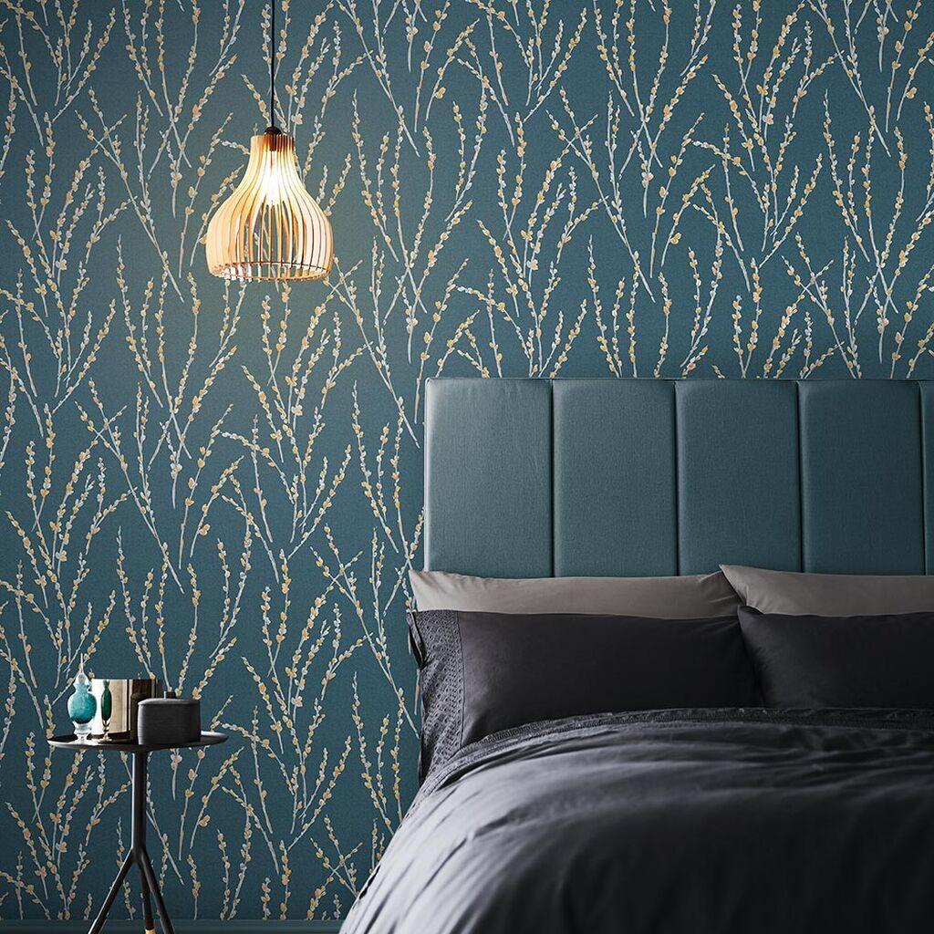Floret Teal Wallpaper Blue Wallpaper Graham & Brown in