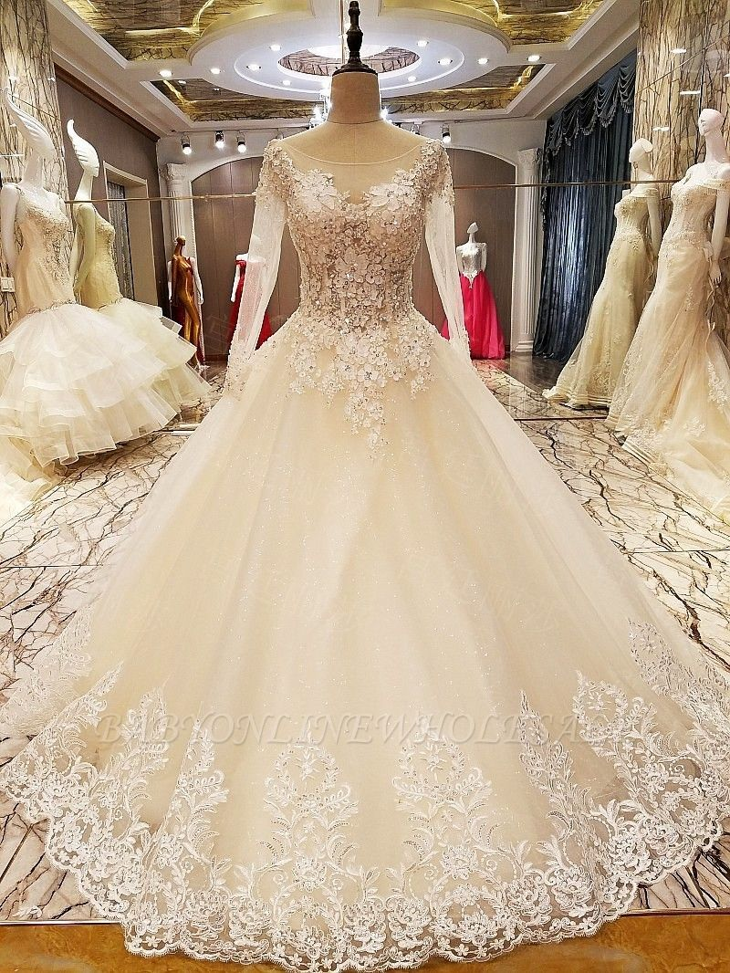 V neck white lace dress may 2019  的 Ball Gown Long Sleeves Appliques Tulle Laceup Wedding