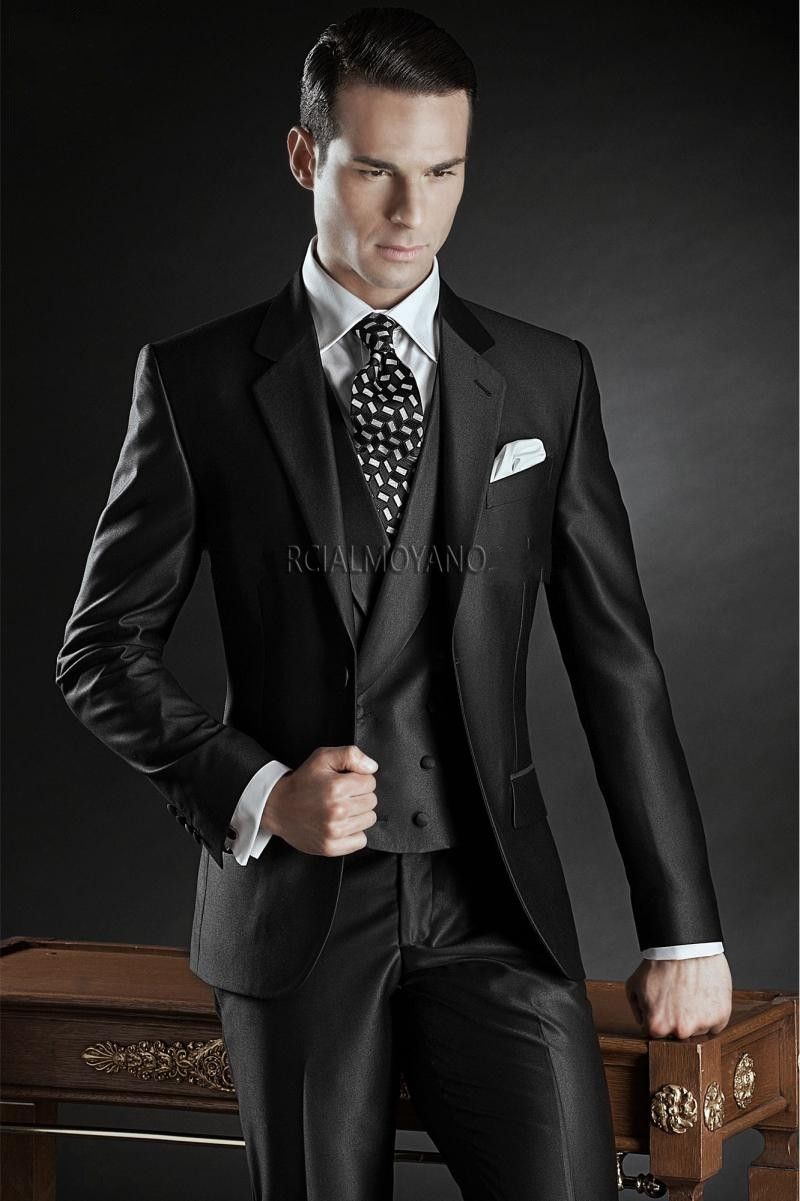 Click to buy ucuc fashionable black groom tuxedos groomsmen mens