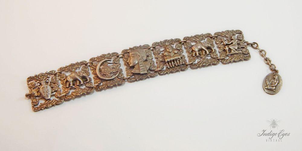 Vintage Art Deco Egyptian Revival 3D Motiff Silver Storyteller Panel Bracelet #PanelBracelet