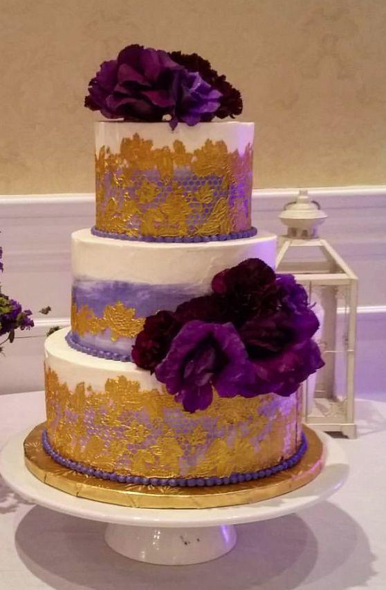Purple And Gold Three Tier Wedding Cake Purple Gold Wedding 1