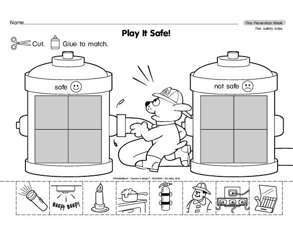 Fire Prevention Week Safe and not safe sort Perfect – Fire Safety Worksheet