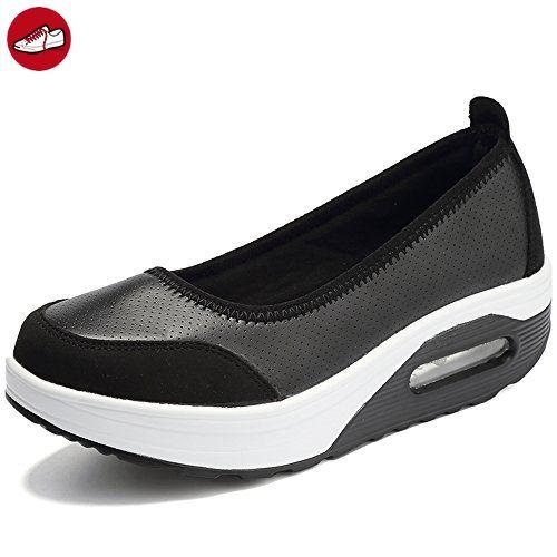 EnllerviiD Damen Sneaker PU Leder Schuhe Plateau Slip On Freizeitsschuhe  Schwarz 41 - Sneakers für frauen