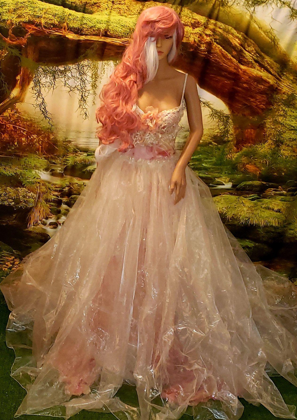 Erica custom order pink mauve ivory silk backless