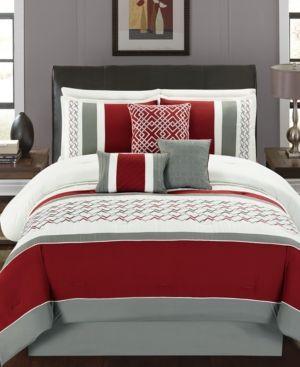 Fletcher 7 Pc California King Comforter Set Red Comforter Sets King Comforter Sets Simple Bedroom Design King comforter sets with curtains