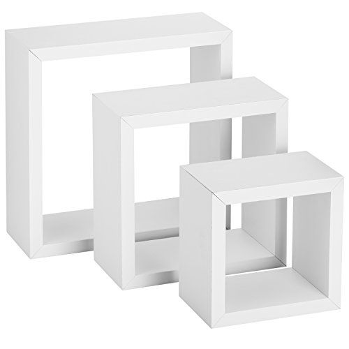 Halter Square Floating Shelves Set Of Three Large Medium Small White Best White Square Floating Shelves