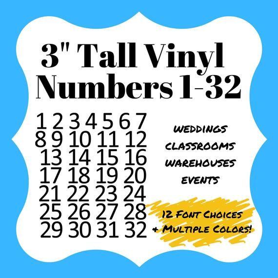 "3"" Vinyl Numbers 1-32. Adhesive Vinyl For Desks, Wedding"