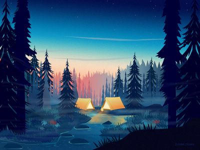 Small Memory Camping in the woods, Art wallpaper