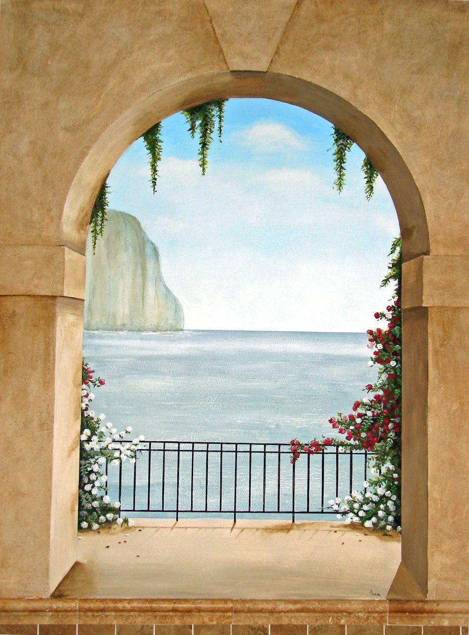 Trompe loeil murals trompe l oeil mural island of capri Poster mural trompe oeil