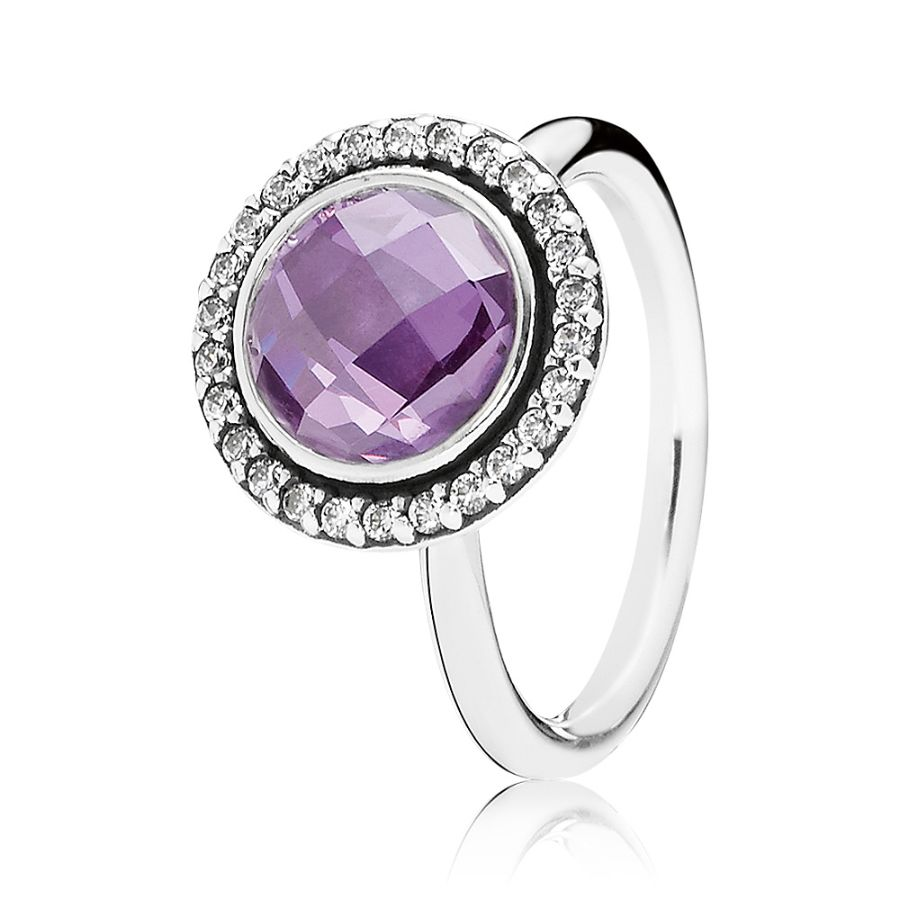 Pandora Silver Cubic Zirconia Purple Faceted Ring