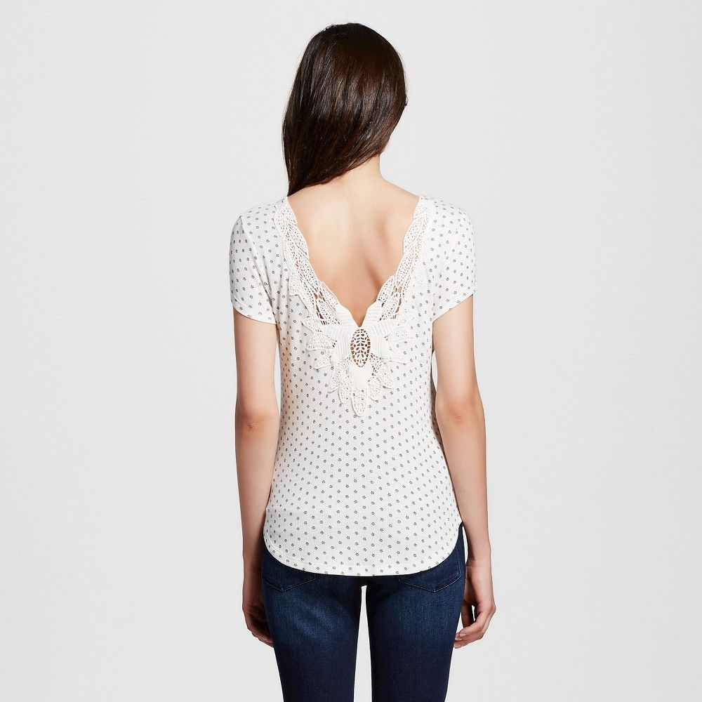 Women's Printed Low Back Crochet Top