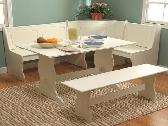 White Kitchen Dining Room Wood Corner Breakfast Nook Table Bench