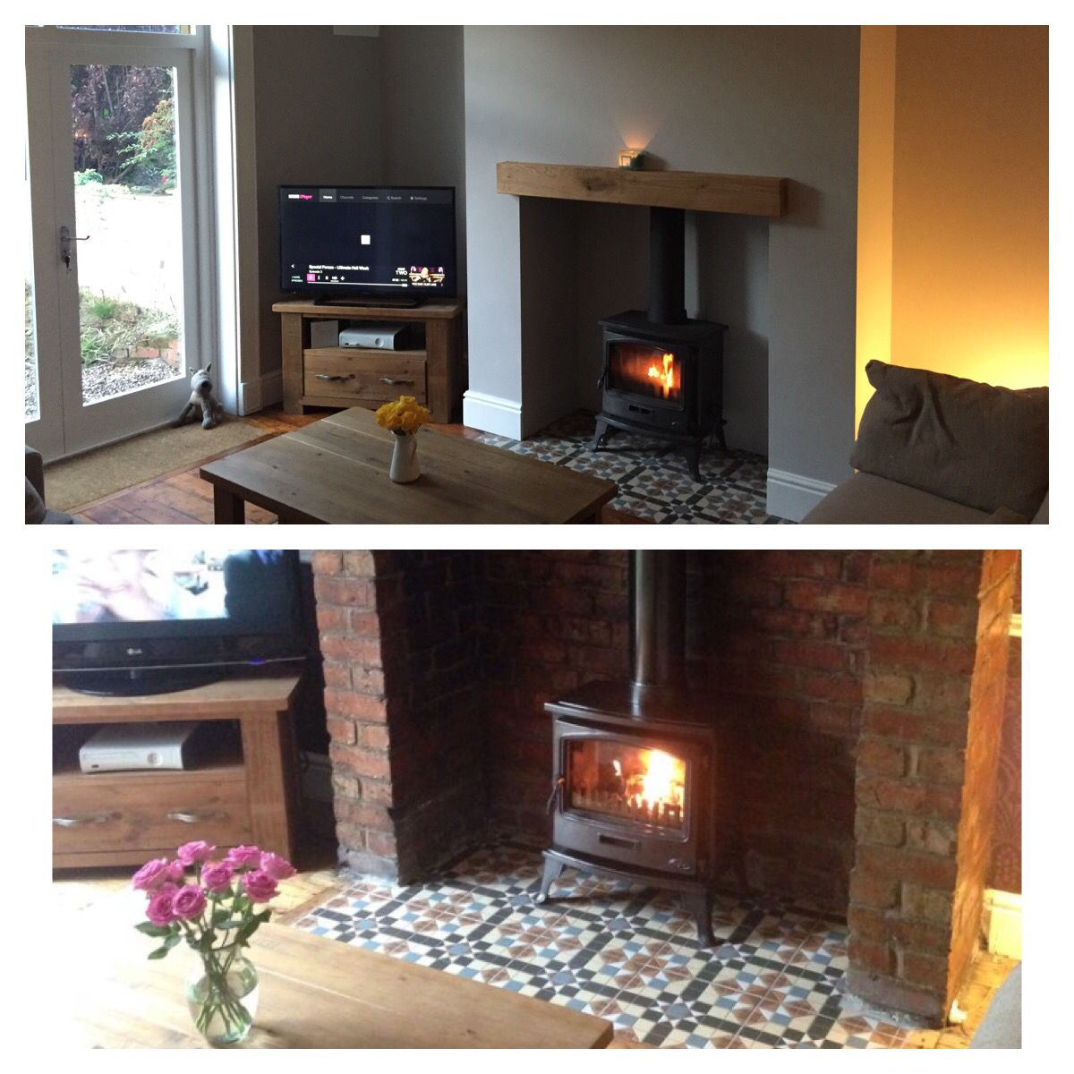 Brick fireplace before and after. Wood burning stove and tiled ...