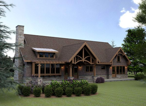 Mountain Lodge Style House Plans | Hillside Cabin or Vacation Home ...