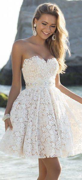 Short Lace strapless wedding dress   Lace Wedding Dresses ...