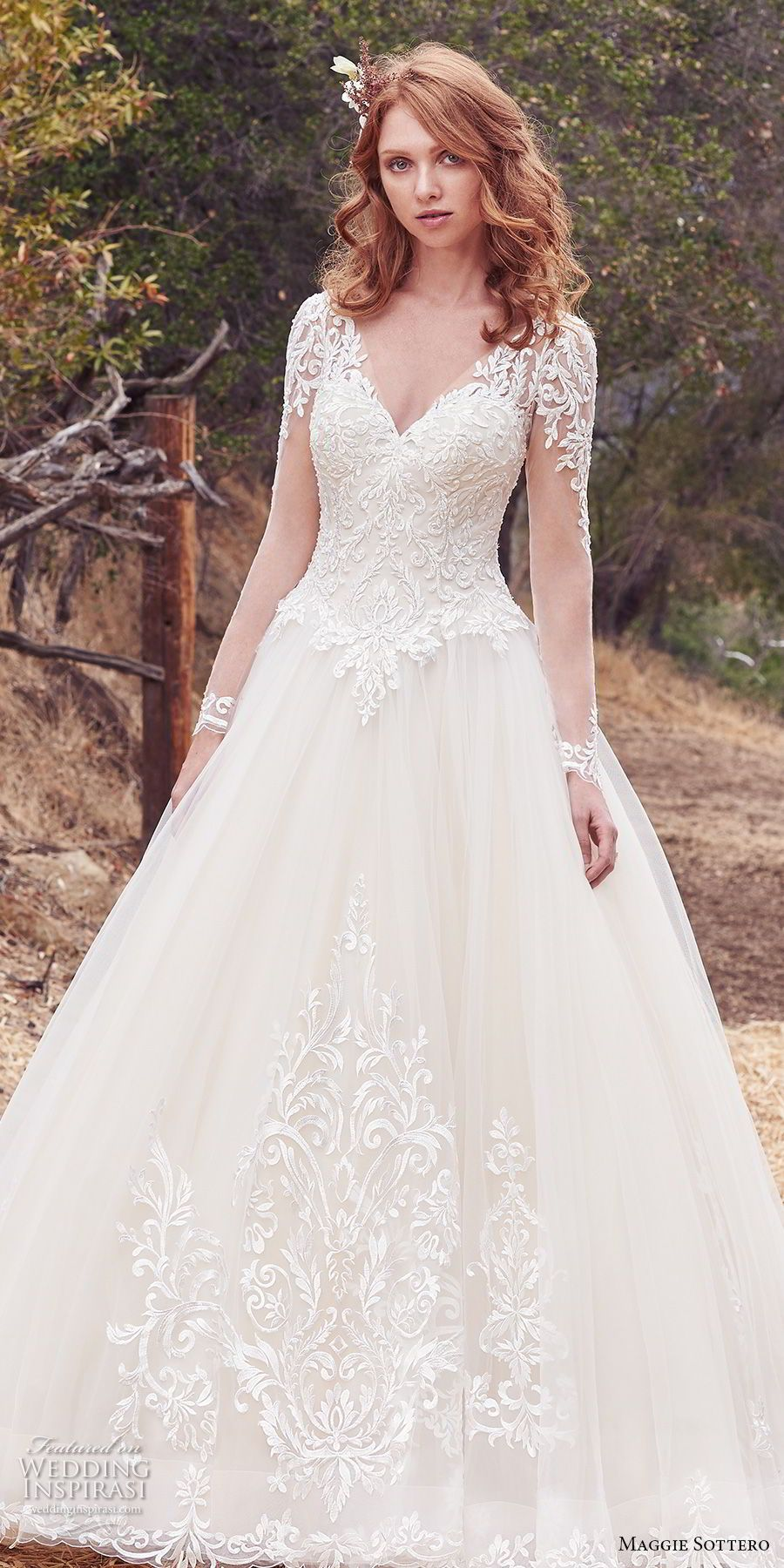 Maggie sottero fall bridal long sleeves v neck heavily