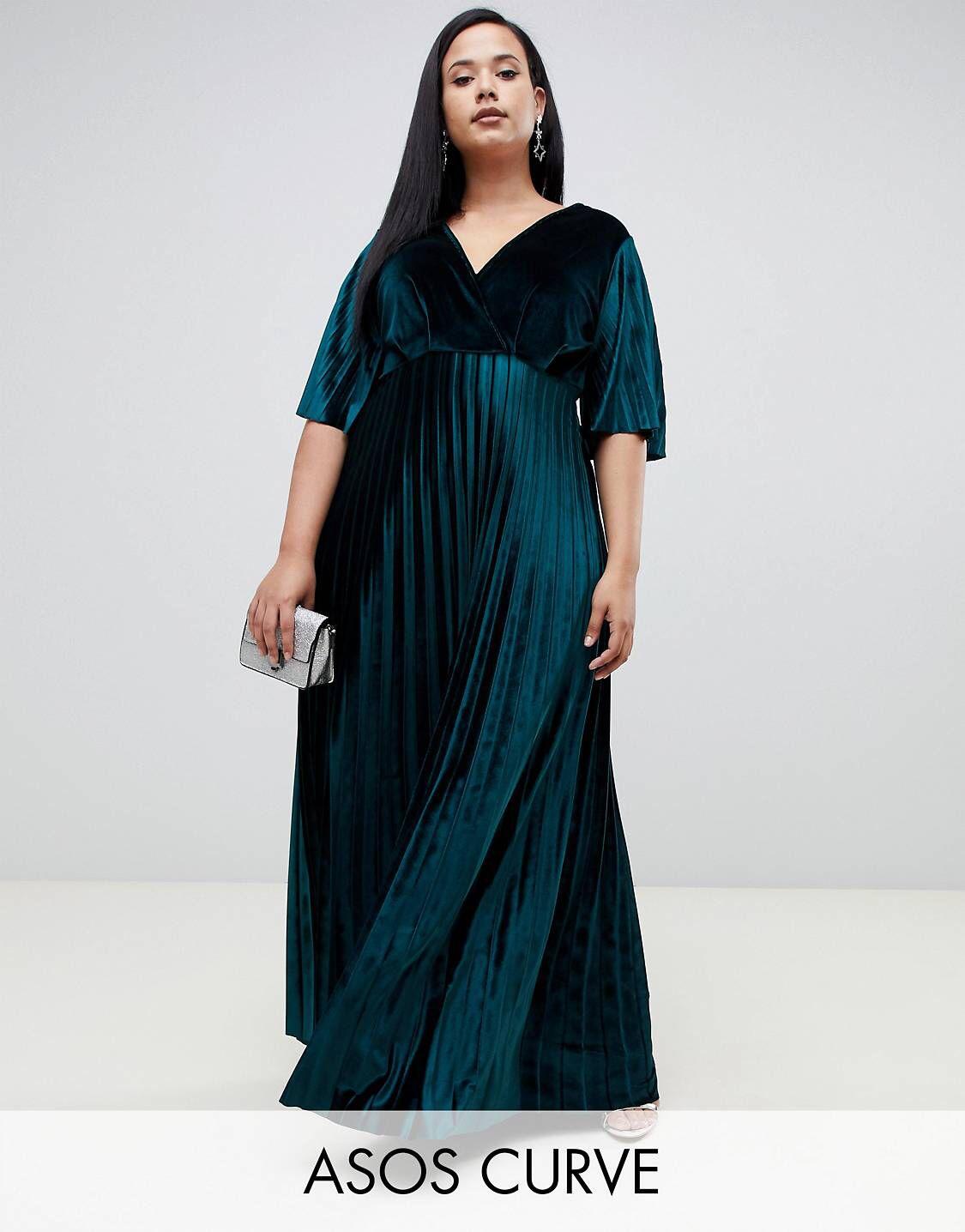 c9db959f27d DESIGN Curve kimono pleated velvet maxi skater dress in 2019